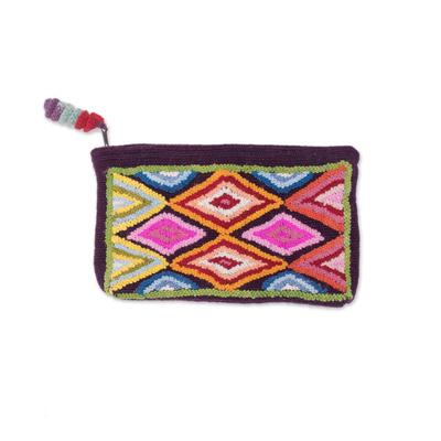 Colorful Rhombus Pattern 100% Alpaca Clutch from Peru