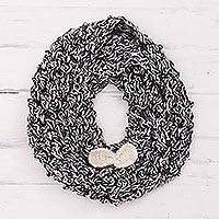 Alpaca blend neck warmer, 'Chic Winter' - Hand-Knit Alpaca Blend Neck Warmer in Black and White