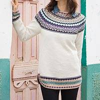 100% alpaca pullover, 'Snowy in the Andes'