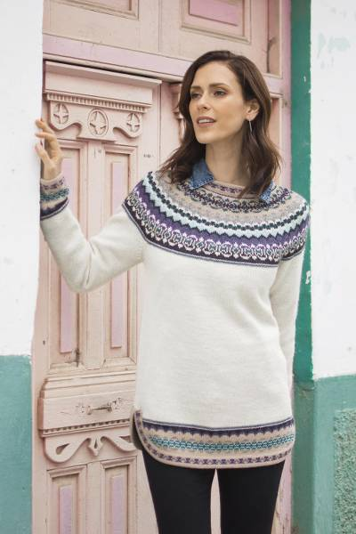 Art knit alpaca pullover, 'Playful Ivory' - Knit 100% Alpaca Pullover Sweater in Antique White from Peru