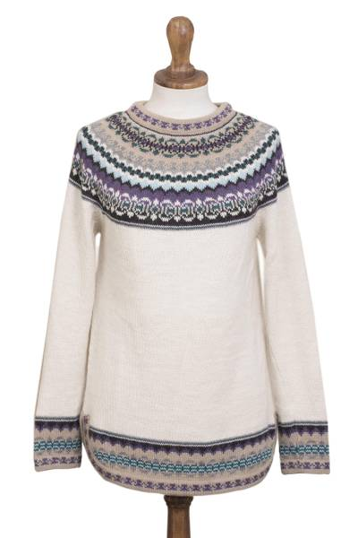 100% alpaca pullover, 'Snowy in the Andes' - Knit 100% Alpaca Pullover Sweater in Antique White from Peru