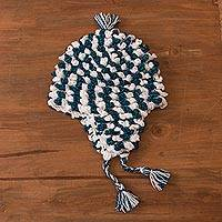 Alpaca blend chullo hat, 'Festive Pattern' - Alpaca Blend Chullo Hat in Blue and White from Peru