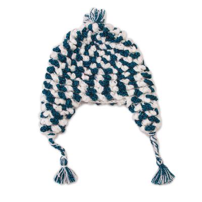 Alpaca Blend Chullo Hat in Blue and White from Peru