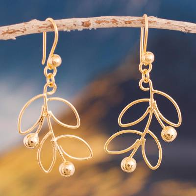 Gold plated sterling silver dangle earrings, Airy Leaves