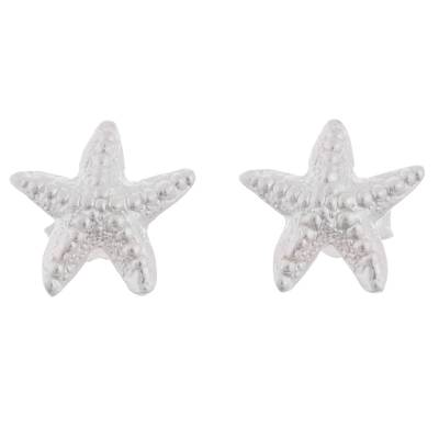 Sterling silver button earrings, 'Starfish Delight' - Sterling Silver Starfish Button Earrings from Peru