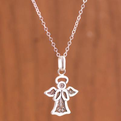 Sterling silver filigree pendant necklace, 'Sweet Angel' - Angel-Themed Sterling Silver Filigree Pendant Necklace