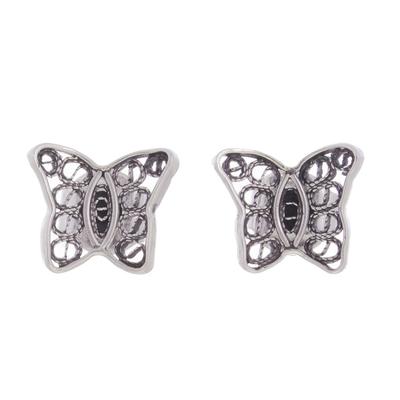 Sterling Silver Filigree Butterfly Stud Earrings from Peru