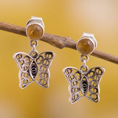 Citrine filigree dangle earrings, 'Gemstone Butterflies' - Citrine Butterfly Filigree Dangle Earrings from Peru