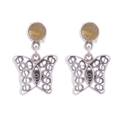 Citrine Butterfly Filigree Dangle Earrings from Peru