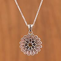 Citrine filigree pendant necklace, 'Floral Citrine' - Floral Citrine Filigree Pendant Necklace from Peru