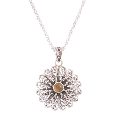 Citrine filigree pendant necklace, 'Floral Citrine' - Floral Citrine Filigree Pendant Necklace from Peru