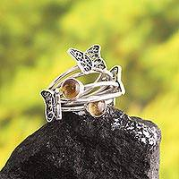 Citrine filigree band ring, 'Gemstone Butterflies' - Butterfly-Themed Citrine Filigree Band Ring from Peru