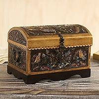 Leather and wood decorative box, 'Bird Chest'