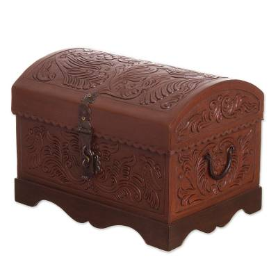 Leather and wood decorative box, 'Brown Birds' - Brown Leather and Wood Decorative Box from Peru