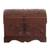 Leather and wood decorative box, 'Brown Birds' - Brown Leather and Wood Decorative Box from Peru (image 2c) thumbail