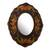 Reverse-painted glass wall mirror, 'Black Colonial Wreath' - Black Floral Reverse-Painted Glass Wall Mirror from Peru thumbail
