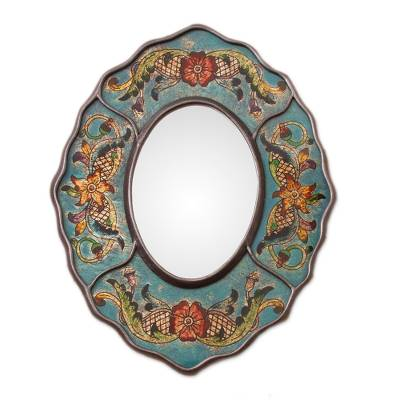 Reverse-painted glass wall mirror, 'Turquoise Colonial Wreath' - Turquoise Floral Reverse-Painted Glass Wall Mirror from Peru