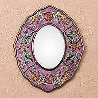 Reverse-painted glass wall mirror, 'Purple Colonial Wreath' - Purple Floral Reverse-Painted Glass Wall Mirror from Peru