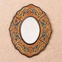 Reverse-painted glass wall mirror, 'Caramel Colonial Wreath' - Brown Floral Reverse-Painted Glass Wall Mirror from Peru