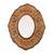 Reverse-painted glass wall mirror, 'Caramel Colonial Wreath' - Brown Floral Reverse-Painted Glass Wall Mirror from Peru (image 2a) thumbail