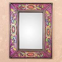 Reverse-painted glass wall mirror, 'Floral Medallions in Purple' - Floral Reverse-Painted Glass Wall Mirror in Purple from Peru