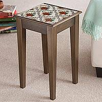 Reverse-painted glass accent table, 'Red Flowers'
