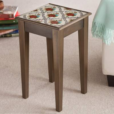 Reverse-painted glass accent table, Red Flowers