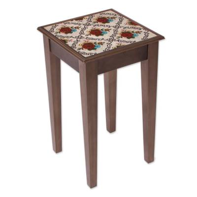 Red Floral Reverse-Painted Glass Accent Table from Peru