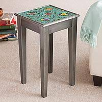 Reverse-painted glass accent table, 'Roses of Spring' - Floral Reverse-Painted Glass Accent Table from Peru
