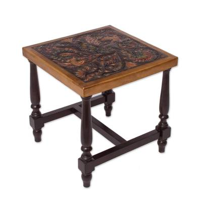 Leather and wood table, 'Peacock Garden' - Colorful Bird and Nature-Inspired Leather and Wood Table