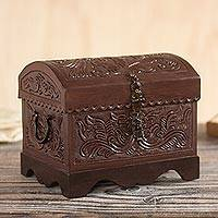 Leather and wood decorative box, 'Avian Enchantment' - Brown Bird Pattern Leather and Wood Decorative Box from Peru