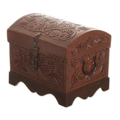 Leather and wood decorative box, 'Avian Enchantment' - Brown Bird Pattern Leather and Wood Decorative Box from Peru