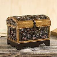 Leather and wood decorative box, 'Colorful Chest'