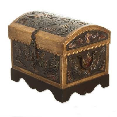 Leather and wood decorative box, 'Colorful Chest' - Colorful Leather and Wood Decorative Box from Peru