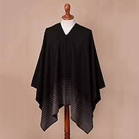 Men's alpaca blend poncho, 'Smoke Adventure' - Smoke and Black Men's Alpaca Blend Poncho from Peru