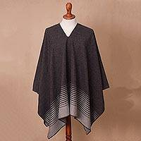 Men's alpaca blend poncho, 'Stone Adventure' - Men's Alpaca Blend Poncho in Stone and Graphite from Peru
