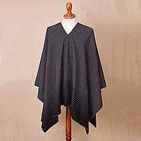 Men's alpaca blend poncho, 'Black Adventure' - Men's Alpaca Blend Poncho in Black and Graphite from Peru