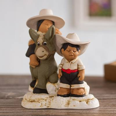 Ceramic figurine, 'Andean Duo' - Hand-Painted Ceramic Figurine of an Andean Family from Peru