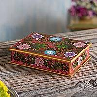 Reverse-painted glass decorative box, 'Margarita Garden in Pink' - Floral Reverse-Painted Glass Decorative Box in Pink