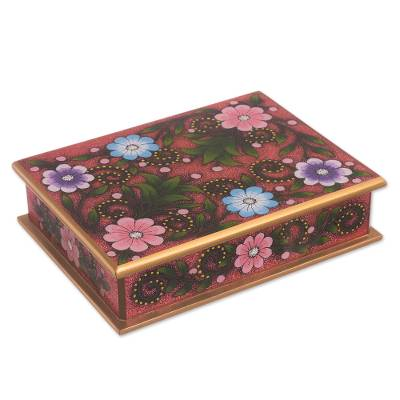 Floral Reverse-Painted Glass Decorative Box in Pink