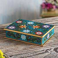 Reverse-painted glass decorative box, 'Margarita Garden in Blue' - Floral Reverse-Painted Glass Decorative Box in Blue