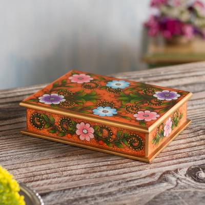 Reverse-painted glass decorative box, 'Margarita Garden in Orange' - Floral Reverse-Painted Glass Decorative Box in Orange