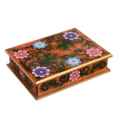 Floral Reverse-Painted Glass Decorative Box in Orange