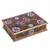 Reverse-painted glass decorative box, 'Margarita Bliss in Pink' - Purple and Pink Reverse-Painted Glass Decorative Box (image 2a) thumbail