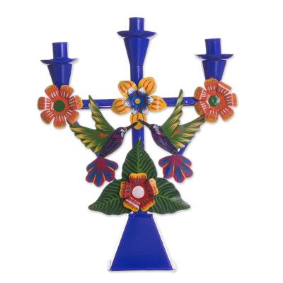 Hummingbird-Themed Recycled Metal Candelabra in Blue