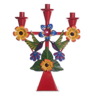 Hummingbird-Themed Recycled Metal Candelabra in Red