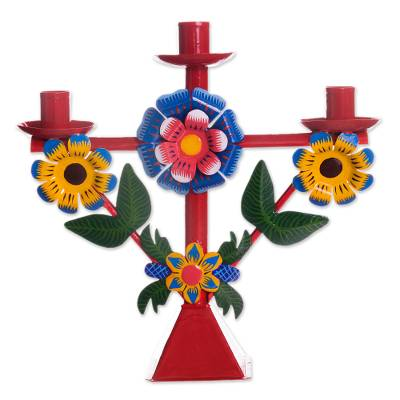 Floral Recycled Metal Candelabra in Red from Peru