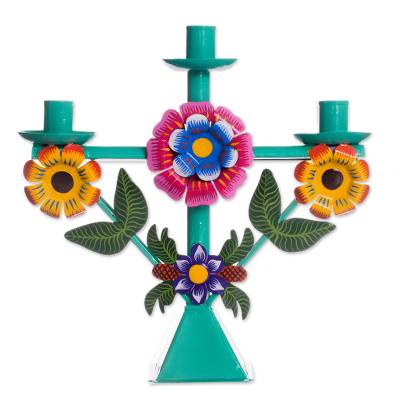 Recycled Metal Candelabra with Floral Motifs