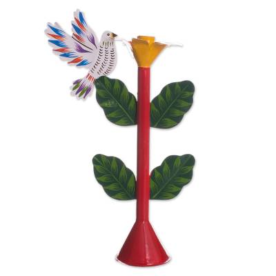 Recycled Metal Dove Candle Holder in Red from Peru