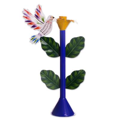 Recycled Metal Dove Candle Holder in Blue from Peru